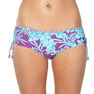 Purple tropical ruched bikini bottoms