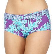 Turquoise floral belt bikini shorts