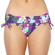 Purple ruched side floral bikini bottoms