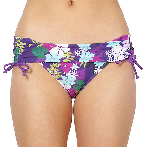 Mantaray - Purple ruched side floral bikini bottoms