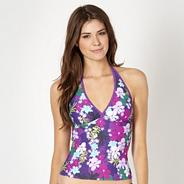 Purple floral print halter neck tankini top