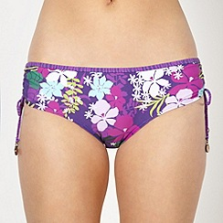 Mantaray - Purple floral print ruched bikini bottoms