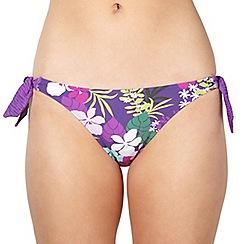 Mantaray - Purple floral padded twist bunny tie bikini bottoms