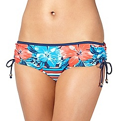 Mantaray - Navy floral striped bikini shorts