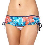 Navy floral striped bikini shorts