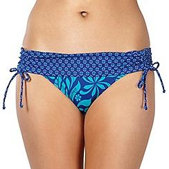 Mantaray - Navy leaf patterned folded ruched side bikini shorts