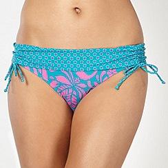 Mantaray - Bright pink leaf patterned folded ruched side bikini shorts