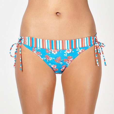 Mantaray - Blue ditsy floral loop side bikini bottoms