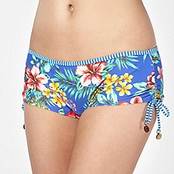 Mantaray - Blue tropical floral ruched bikini shorts