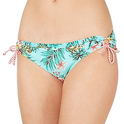 Mantaray - Green tropical floral loop side bikini bottoms