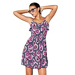 Beach Collection - Navy floral tile print mini beach dress