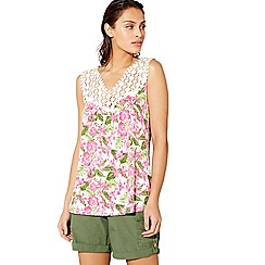 Mantaray - White sleeveless floral print crochet top