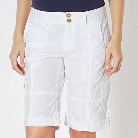 Mantaray - White woven cargo shorts