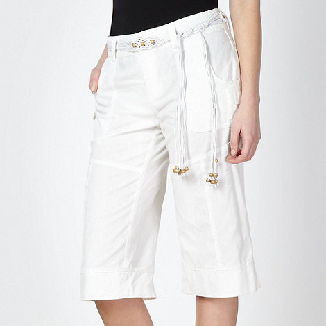 Mantaray - White woven cropped trousers
