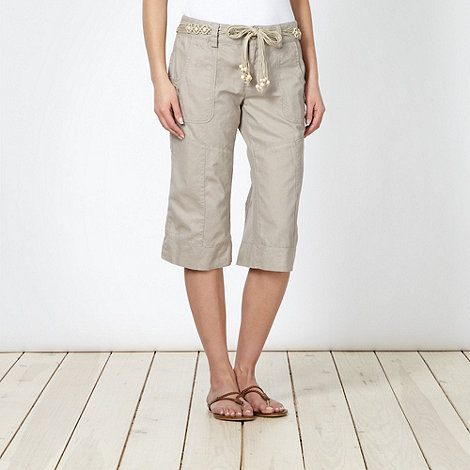 Mantaray - Natural woven cropped trousers