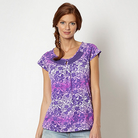 Mantaray - Purple floral graduated ruched top