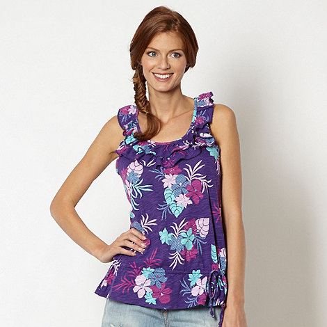 Mantaray - Purple floral pattern frill vest top