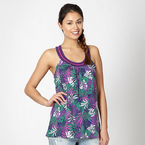 Mantaray - Khaki floral beaded neck vest