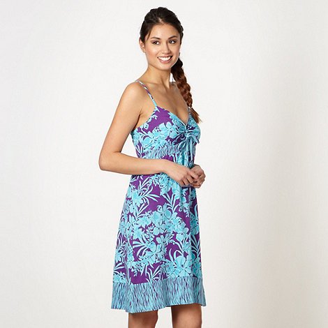 Mantaray - Aqua floral tie front dress