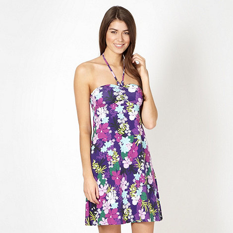 Mantaray - Purple floral bandeau beach dress