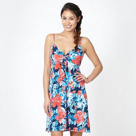 Mantaray - Blue floral print tie front dress