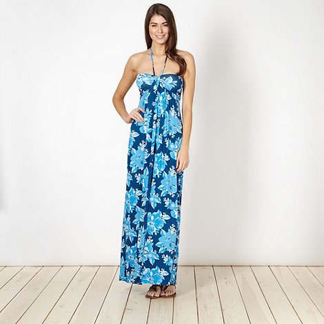 Mantaray - Blue floral halter maxi dress