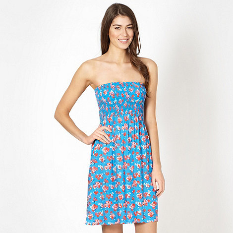 Mantaray - Blue floral shirred dress
