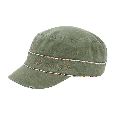 Mantaray - Khaki canvas floral trim cap