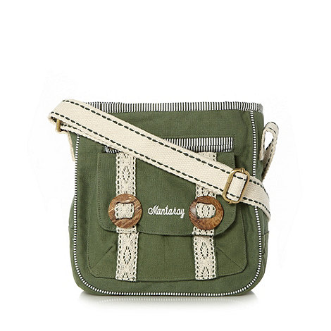 Mantaray - Khaki canvas crochet cross body bag
