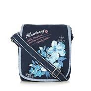 Blue canvas embroidered cross body bag