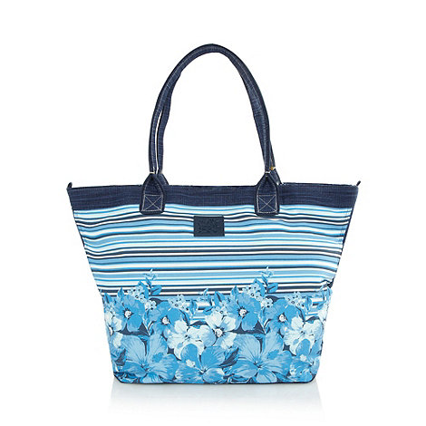 Mantaray - Blue painted floral tote bag