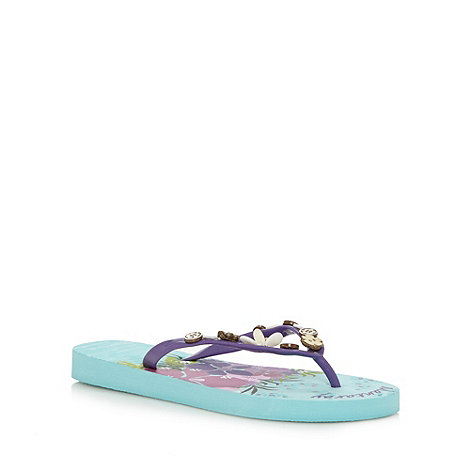 Mantaray - Turquoise beaded flip flops