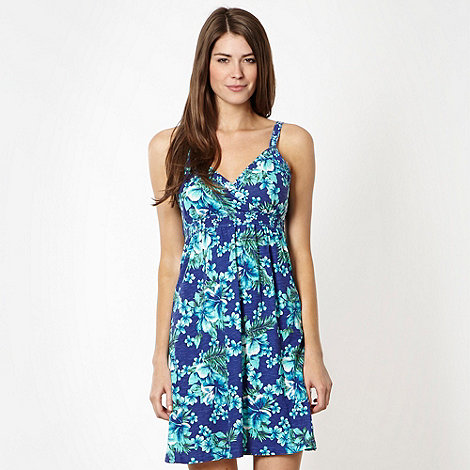 Mantaray - Blue floral tie back beach dress