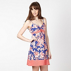Mantaray - Blue floral tie front jersey beach dress