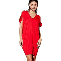 Beach Collection - Red cold shoulder v-neck kaftan
