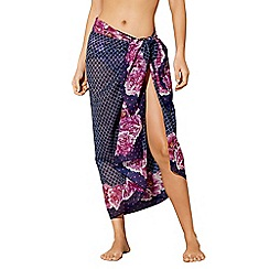 Beach Collection - Navy floral tile print sarong