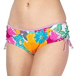 Mantaray - White floral ruched bikini bottoms