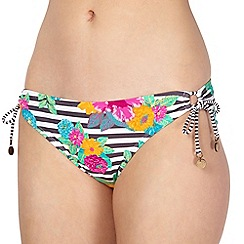 Mantaray - White 'Somerset' striped tie side bikini bottoms