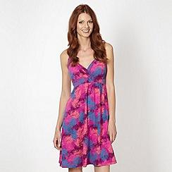 Mantaray - Pink palm print strap dress