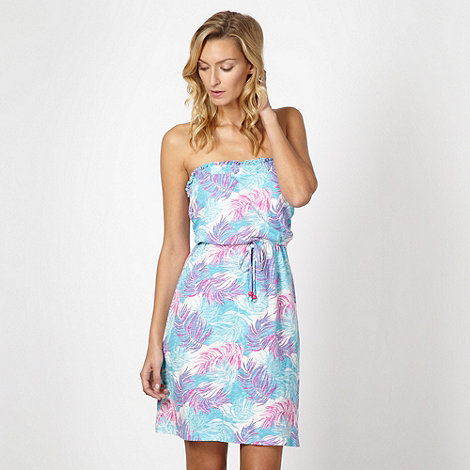 Mantaray - Aqua leaf printed jersey beach dress