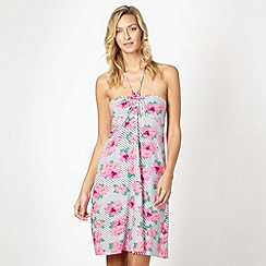 Mantaray - Pink striped floral bandeau dress