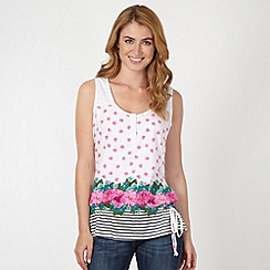 Mantaray - White floral crochet dropped waist vest