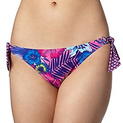 Mantaray - Pink tropical floral and diamond print bunny tie bikini bottoms
