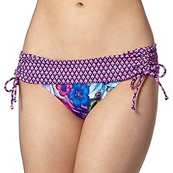 Mantaray - Pink tropical floral and diamond print folded bikini bottoms