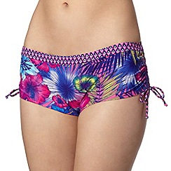 Mantaray - Pink floral ruched bikini shorts