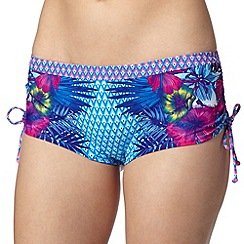 Mantaray - Turquoise geometric and tropical floral bikini shorts