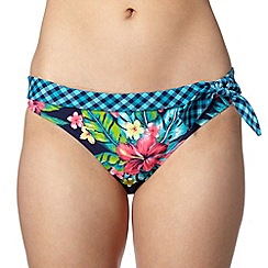 Mantaray - Navy floral and checked tie side bikini bottoms
