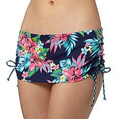 Mantaray - Navy flower print skirt bikini bottoms