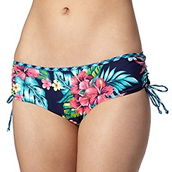 Mantaray - Navy floral and checked tankini bottoms