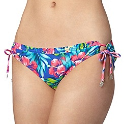 Mantaray - Blue tropical floral loop side bikini bottoms